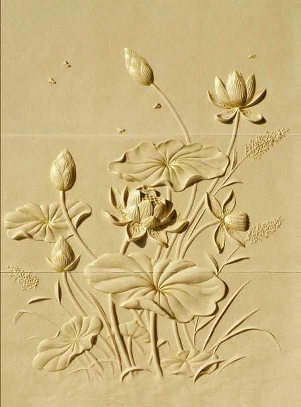 điêu khắc hoa sen thạch cao